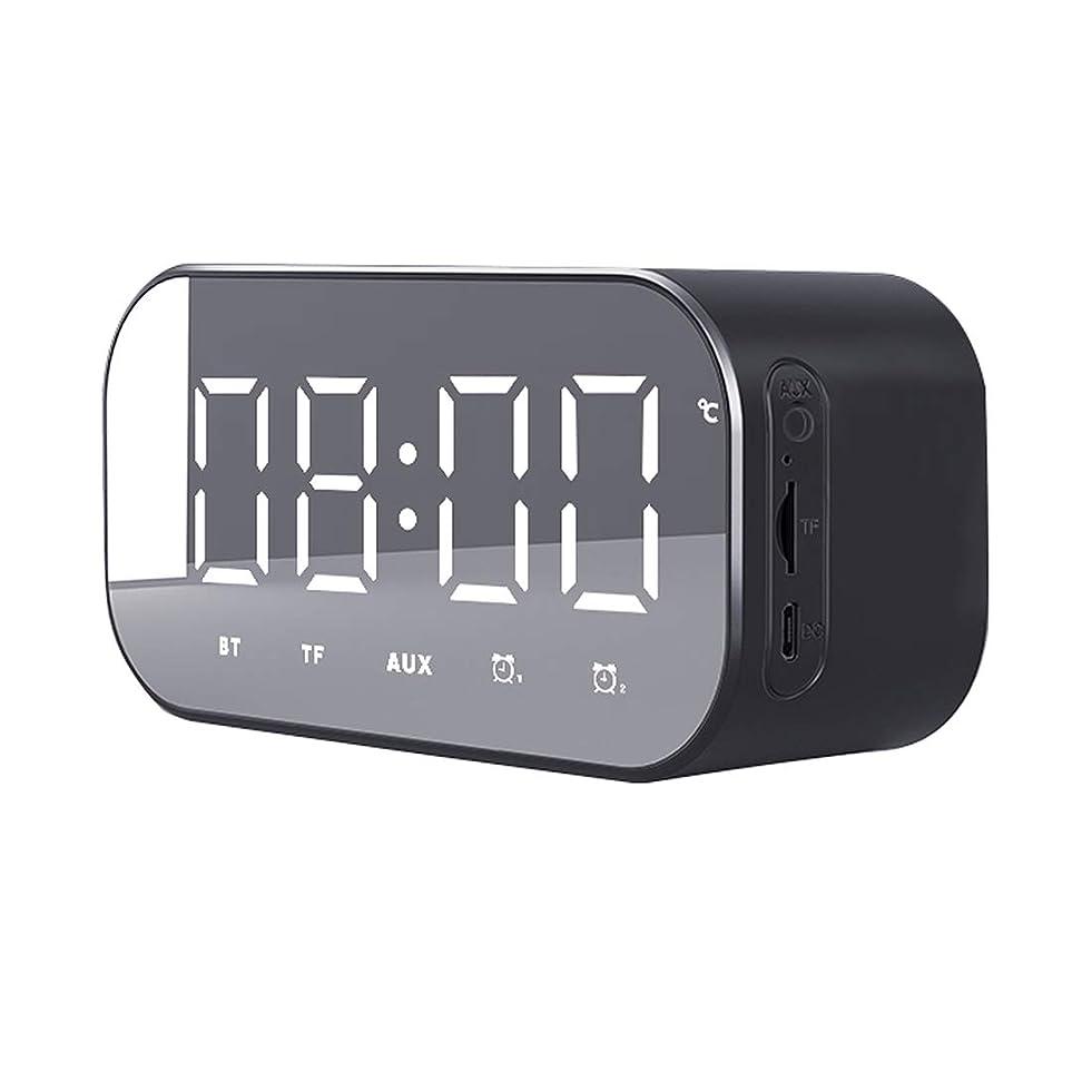 感性ためにバッテリーJawwei Bluetooth スピーカー ワイヤレス ブルートゥース 多機能 アラーム デジタル FMラジオ 目覚まし 置き 時計 TFカード再生 スヌーズ 機能 3D 立体 高音質 多機能 AUX 温度計 ハンズフリー通話 ミラースクリーン 日本語説明書付き ブラック
