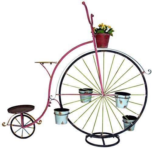 GeKi Trend Blumen-Fahrrad Hochrad aus Eisen XXL 152 cm hoch x 170 cm lang Exklusiver Blumenwagen Blumenständer für den Garten im Antik-Stil