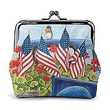 Daisy Country Car Bandiera americana Pat Borsa vintage per ragazza - Blocca borsa portafogli Portafogli fibbia portamonete in pelle chiave donna stampata