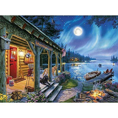 Puzzle 1000 Piezas Cuna Pintura Perro decoración Ver Arte artesanía Luna Imagen Lago Animal Puzzle 1000 Piezas Adultos Educativo Divertido Juego Familiar para niños adultos50x75cm(20x30inch)