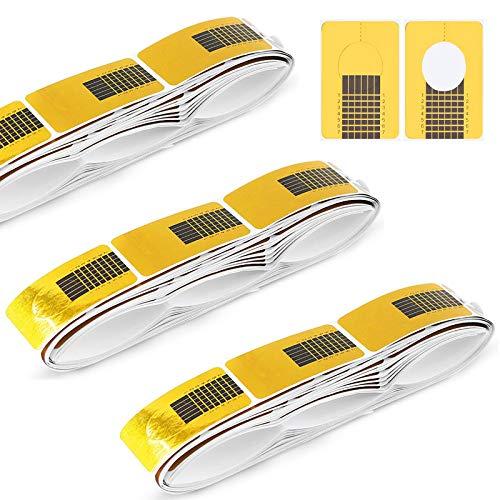 Hanyousheng 300 Stück Nagel-Schablonen,Modellier-Schablone Selbstklebend für Gel-Nägel, Nagel-Verlängerung Golden Schablonen für die Künstliche Fingernagel-Modellage