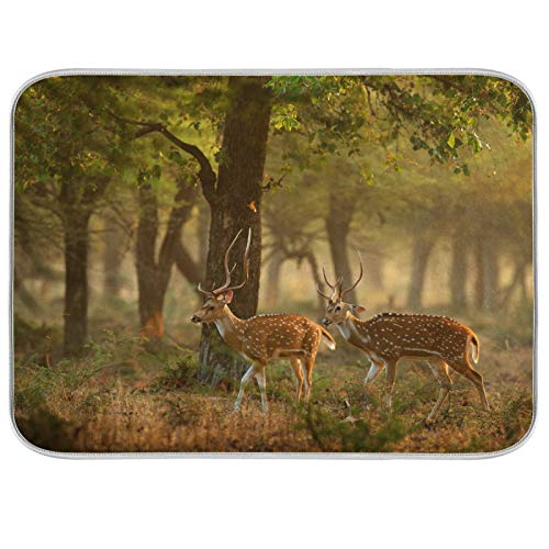 Microfiber Dish Drying Mat Extra Large Super Absorbent Double-Sided Design for Kitchen 18 x 24 Inch Spotted Deer Axis