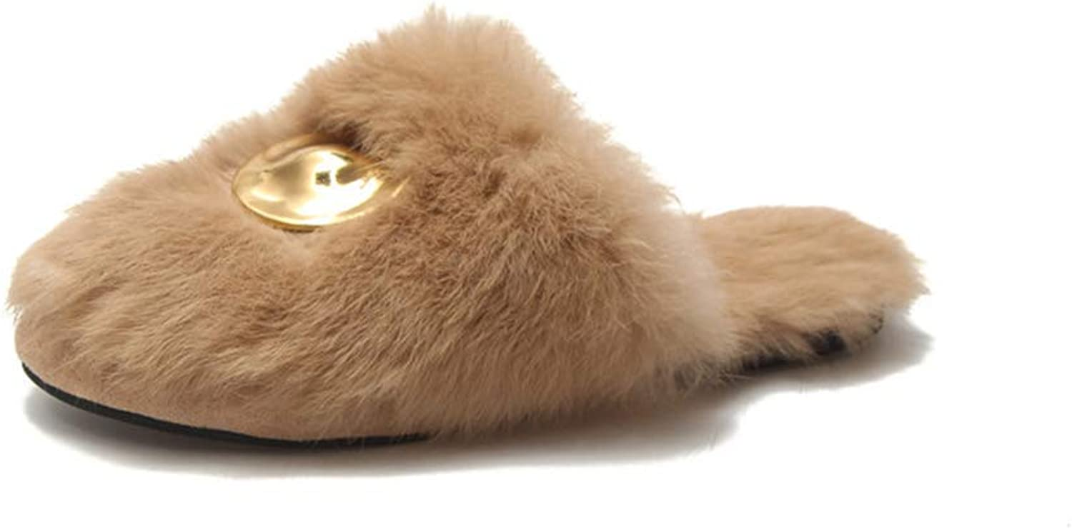 Fur shoes Female Autumn and Winter Peas shoes Wear Outside Flat Solid color Korean Version Elegant Woman Standard Size (color   Yellow, Size   36yards)