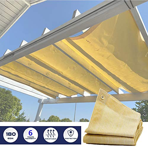 LSXIAO-Shade Cloth Awning Private Screen Fence Partition Wall Cover UV Resistance Polyethylene with Eyelet Balconies, Terraces, Swimming Pools,Garden Screens (Color : Beige, Size : 0.75x3m)
