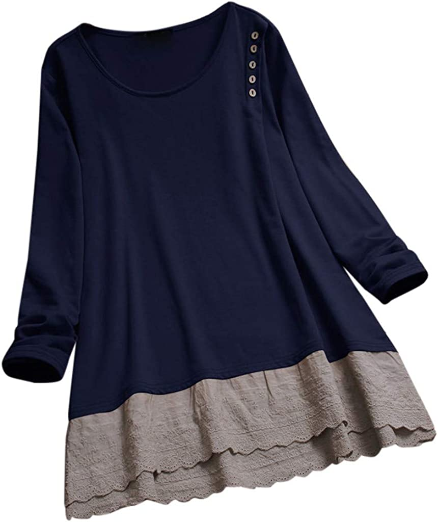 Leaf2you Women Vintage Lace Patchwork Blouse Shirts 3//4 Sleeve V-Neck Tunic Tops T-Shirt Solid Color Tees Pleated Flowy Tops