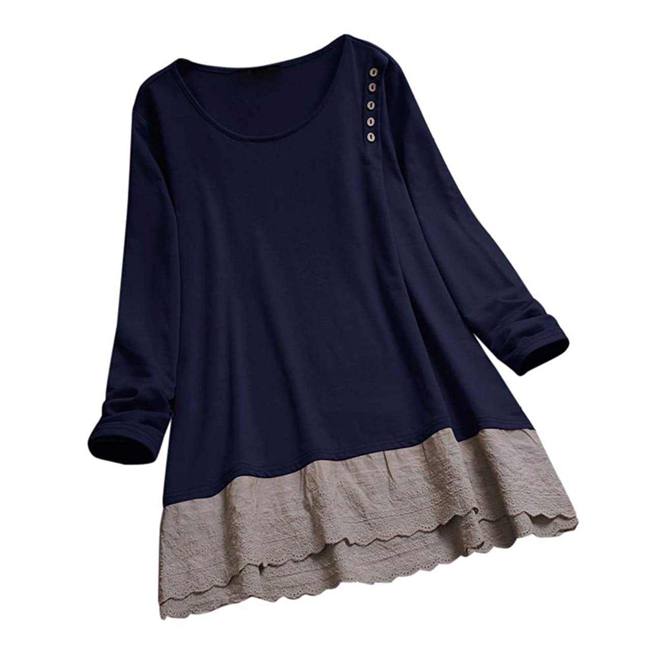 Womens Plus Size Casual Long Sleeve T-Shirt O-Neck Solid Tunic Lace Patchwork Loose Tops Blouse