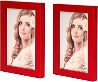 Leoyoubei Simple 2-Pack Frame Photo Frame Desktop Or Wall Hanging Decoration,Display Size 4x6 Red