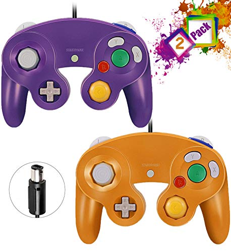 Gamecube Controllers,GALGO Classic Gamecube wii Controller for Nintendo Gamecube Console, Compatible with Wii (Purple & Orange)