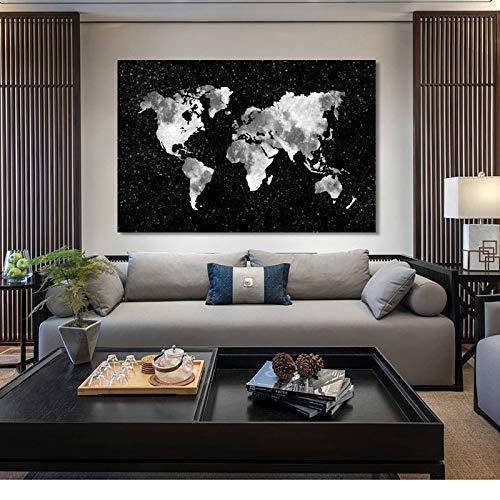 YuanMinglu Moderne kreative abstrakte Weltkarte Plakat und Leinwanddruck Wandkunst Malerei Wohnzimmer Hauptdekoration Wandkunst Rahmenlos 50x75cm