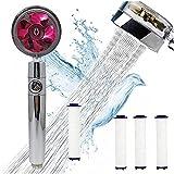 ERTLKP Cabezal de ducha de mano accionado por hélice de alta presión 360° Cabezal de ducha giratorio de ahorro de agua con filtro y interruptor de pausa Cabezal de ducha turboalimentado