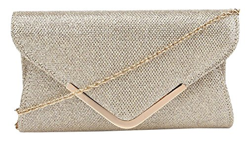 kukubird Katie Simple Shimmer Envelope Clutch Bag Purse with Dustbag - Gold