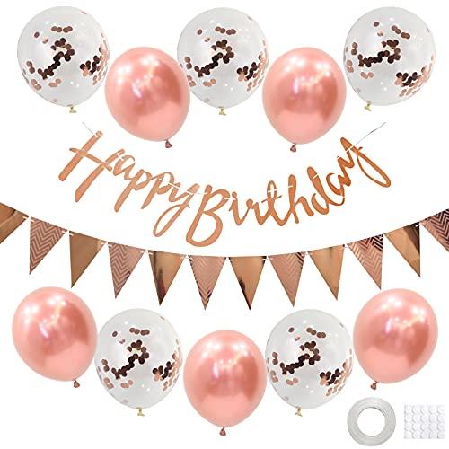 Geburtstag Dekoration Set,Rose Gold Happy Birthday Banner Set mit Rose Gold Luftballons Konfetti Ballons Dreiecksflaggen Girlanden für Geburtstag Deko Party Supplies