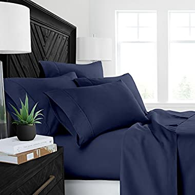 Sleep Restoration Luxury Bed Sheets with All-Natural Pure Aloe Vera Treatment - Eco-Friendly, Hypoallergenic 4-Piece Sheet Set Infused with Soothing/Moisturizing Aloe Vera - Queen - Navy