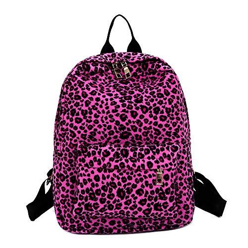 DAYLIN Mochila de Mujer, Personalizado Leopardo Impreso Felpa Mochila Bolsa de Estudiante Casual Backpack (Rosa Caliente)