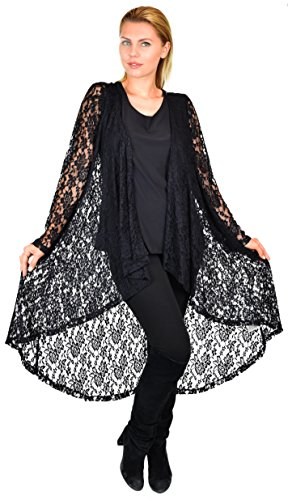 Dare2bStylish Women Plus Size High Low Open Front Lace Duster Cardigan Jacket Black