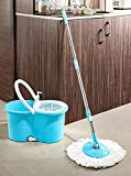 SHOPECOM Cleaning Wet and Dry Flat Spin Mop with Easy Bigger Wheels