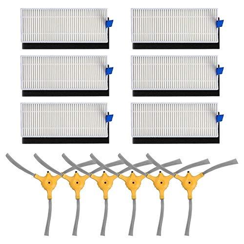 SANKUAI LT-Home, 6Set Hepa Filter + 6PCS Seitenbürste for Eufy RoboVac 11+ 11 Plus-Roboter-Staubsauger Ersatzteile Zubehör