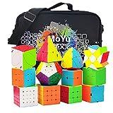 HJXDtech 12 Paquete Speed Cube Set con Bolsa de Especial y Tipos de Cubo Mágico Profesional WCA Competition 2x2 3x3 4x4 5x5 Pyraminx Megaminx Skewb SQ1 etc. Cube Puzzle Toys (Stickerless)