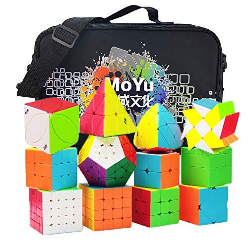 HJXDtech 12 Pack Stickerless Speed Cube Set mit spezieller Aufbewahrungstasche, Professionelle WCA Competition Zauberwürfel Arten 2x2 3x3 4x4 5x5 Pyraminx Megaminx Skewb SQ1 Würfel Puzzle Spielzeug