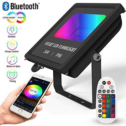 Bluetooth LED Strahler RGBW CCT, 24W LED Flutlicht Farbig Fluter Dimmbar Mit Fernbedienung, 16 million Farben IP66 Wasserdicht Außenstrahler Sync Musik mit Timer Memoryfunktion Led Flood Licht