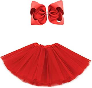 5 Layered Tulle Tutu Skirt for Girls with Hairbow and Hairties, Ballet Dressing Up Kid Tutu Skirt