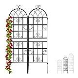 Relaxdays Rankgitter Metall, 2er Set, zum Stecken, Rankhilfe für Kletterpflanzen, 180 x 50 cm, Spalier Garten, schwarz