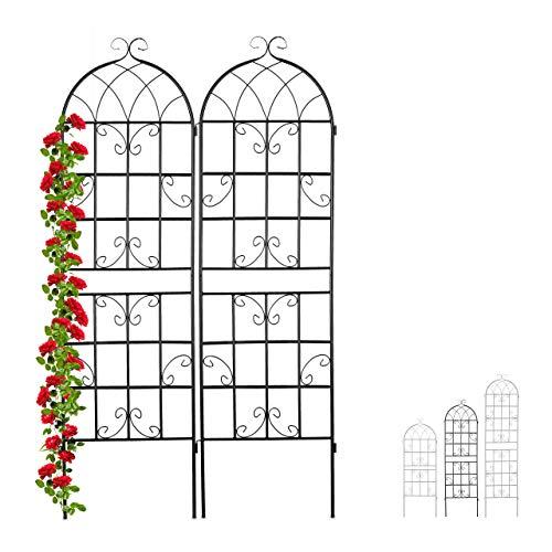 Relaxdays Treillis de Jardin, métal, Lot de 2, tuteur pour Plantes grimpantes, 180 x 50 cm, Noir