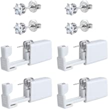 4 Pack Self Ear Piercing Gun Disposable Self Ear Piercing Gun Kit Safety Ear Piercing Gun Kit Tool (5mm Crystal silver 4 pcs)