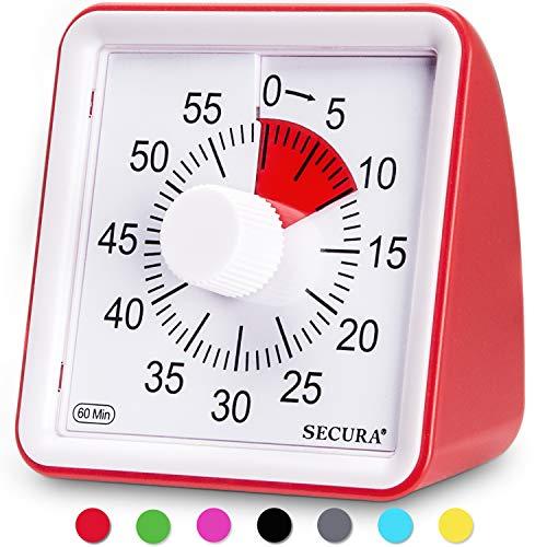 Secura - Temporizador visual de 60 minutos, reloj de cuenta atrás para aula, temporizador silencioso para niños y adultos, herramienta de gestión del tiempo para enseñanza (rojo)