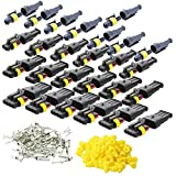 CESFONJER 26 Pcs Electrico Impermeable Conector, Conectores Sellado Impermeable Sellado Impermeable 1 Pines, 2 Pines, 3 Pines, 4 Pines Canales Pines para Coche Motos