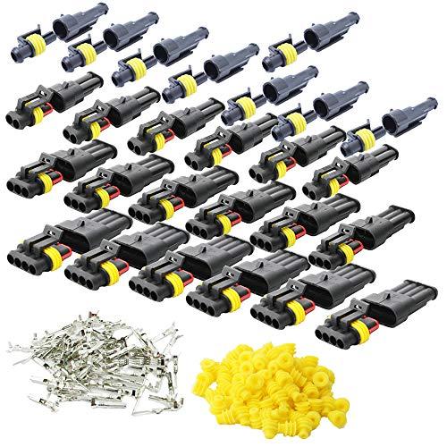 CESFONJER 26 Set Wasserdicht Schnellverbinder, Kabel Steckverbinder Stecker für KFZ LKW Auto Kayak Boote Roller Motorrad (1 Polig×8, 2 Polig×6, 3 Polig×6,4 Polig×6, Gelbes Siegel)