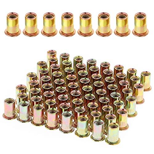 Gueenky 100 Stück Verzinkte Kohlenstoffstahl Nietmuttern, M6 Flachkopf Gewinde Nietmuttern, Blindnietmuttern Sortiment für Metall Kunststoff (12 mm x 15 mm)