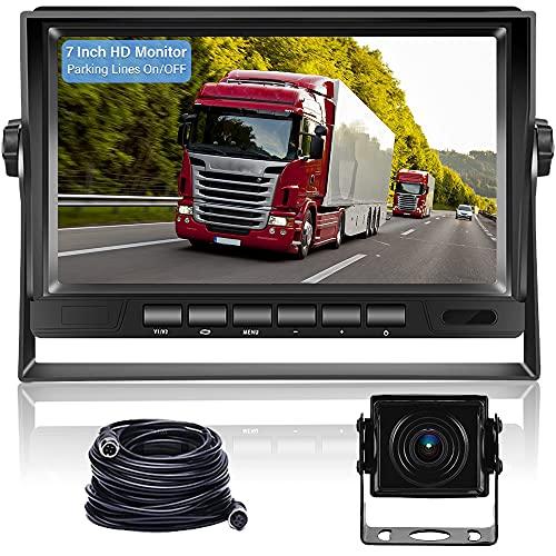 Hikity Cámara de Marcha Atrás para Coche Digital Cámara de Visión Nocturna Trasera Impermeable IP69 y 7 Pulgadas AHD LCD Monitor para Camionetas/Remolques/Vagones