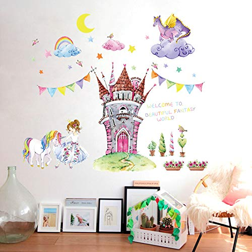 Cartoon Schloss Wandaufkleber Schlafzimmer Kinderzimmer Kinderzimmer Mädchen Zimmer Vinyl umweltfreundliche abnehmbare Art-Deco-Wandbild Aufkleber Wandaufkleber60X90cm