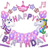 Yidaxing 64pcs Unicorn Party Decoration Supplies Set De Cumpleaños con 2pcs Enorme Unicornio Globos 1 Happy Birthday Banner 48 Globos para Girls Kids Adultos Fiesta De Cumpleaños Decoración
