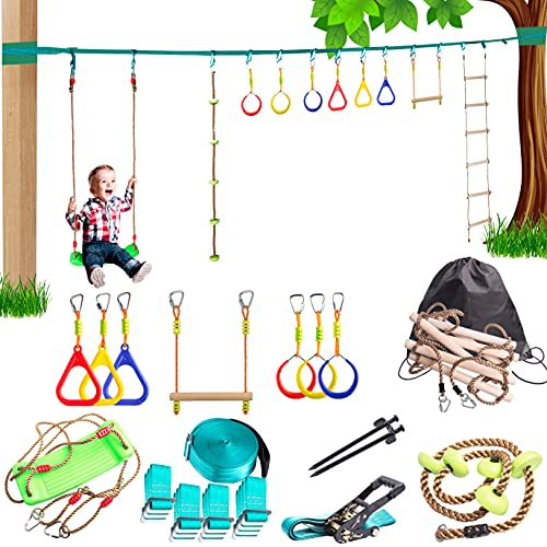 Ninja Slackline Backyard Obstacle Training Course 50' – The Most Complete Hanging Monkey Bars kit for Kids with Ladder, Rope and Swing - Portable Training Equipment Gift Set for Kids (Turquoise)