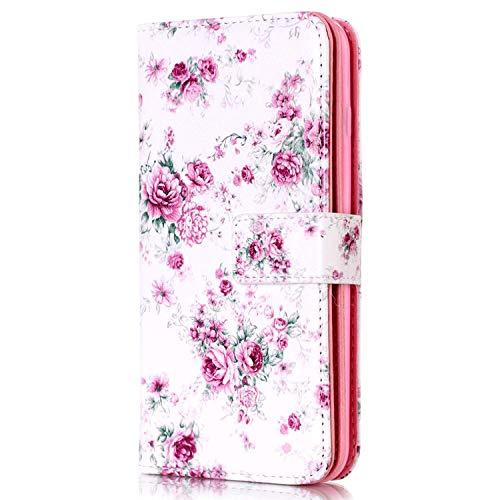 kompatibel mit LG G4 Stylus Hülle,LG G4 Stylus Lederhülle,Handyhülle LG G4 Stylus PU Leder Wallet Tasche Brieftasche Schutzhülle Bunte Muster Flip Hülle Ledertasche Magnet Etui Handytasche,Pink Rose