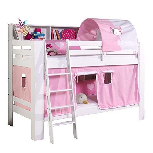 Relita Etagenbett Jan mit Bücherregal, Vorhang und Tunnel Buche massiv, weiß lackiert, Stoff rosa
