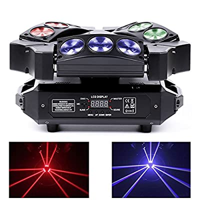Top-Uking DMX512 RGB LEDs Moving Head Stage light 27W Mini 9 Head Bird Disco Light for Bar Club Dj Disco Home party Bands Show
