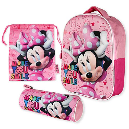 Mochila Infantil 3D, Estuche Escolar y Bolsa Merienda de Cuerdas Pack Diseño Colorido – Minnie Mouse | Mochila Escolar Niña de 3 Años | Material Escolar Vuelta al Cole con Minnie Mouse