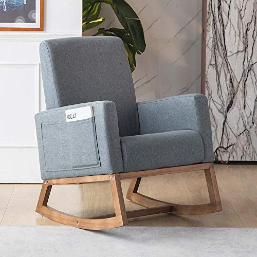 Paddie Rocking Chair Nursery, Fabric Rocking Sofa Armchair with Solid Wood Base, Side Pocket, Linen Fabric Upholstered Baby Nursing Chairs for Mom and Baby (Grey)