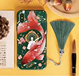 New iPhone Case, Chinese Style Beautiful iPhone Case, Lucky Koi Fish Shatter-Resistant Girls and Boys iPhone Cover with Lanyard (iPhone 11 Pro Max)