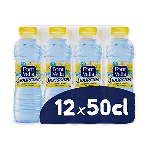 Font Vella Sensación, Agua Mineral Natural con sabor limón - Pack 12 x 50cl
