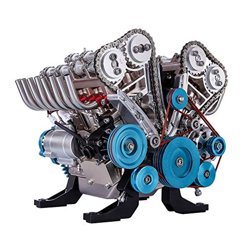 XSHION TECHING V8 Engine Model, DIY Assembly Metal 8-Cylinder Engine Motor Model Building Kit Educational Science Experiment Physics Toy