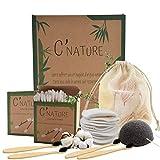 C'Nature coton démaquillant bambou réutilisable, lingette démaquillante et bébé lavable.Lot nettoyant pour visage 16 disque démaquillants + 400 cotons tige + 4 brosse à dent + 1 éponge konjac + filet
