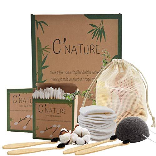 C'Nature coton démaquillant bambou réutilisable, lingette démaquillante et bébé lavable.Lot nettoyant pour visage 16 disque démaquillants + 400 cotons