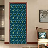 Moon Decorative Door Decal Scribble Starry Sky Pattern with Hand Drawn Style Crescent