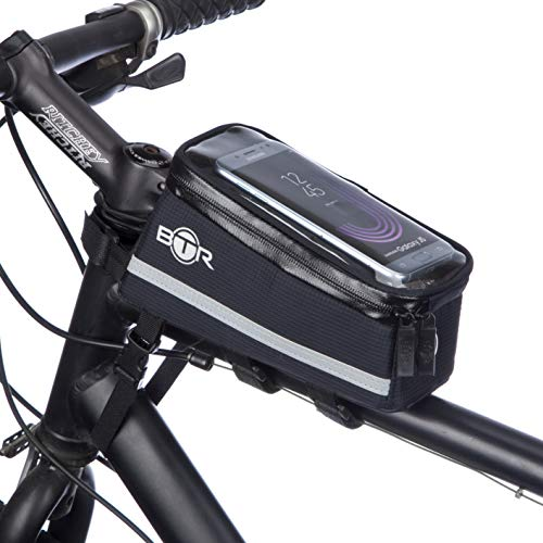 BTR Fahrrad Handyhalterung, Deluxe Fahrrad-Tasche Handy-Halterung Lenkertasche, Rahmentasche Wasserdicht. Handyhalterung Fahrrad mit Regenschutz. Recycelbare Verpackung