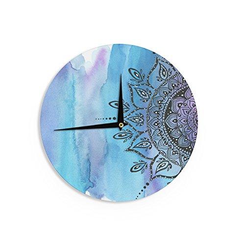 """""""Blue Mandala"""" Aqua Black Wall Clock"""