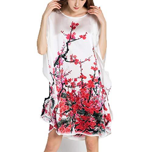 Pijamas De Seda Mujer, 100% Satén Crepé De Seda para Mujer Camisón Bata Túnica Lencería Ropa De Noche Prenda Bata De para Novia-Regalo para Despedida,D-OneSize
